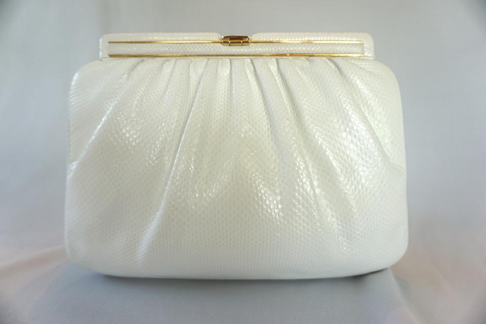 White Clutch Leiber 1980's Deco Judith Snakeskin Style Leather Evening Art nzOwxqxTY7