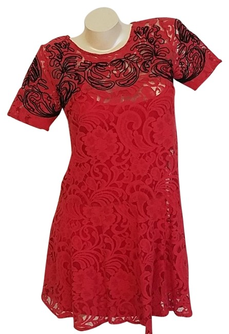 Free People Red With Matching Slip Lace Mid-length Cocktail Dress Size 8 (M) Free People Red With Matching Slip Lace Mid-length Cocktail Dress Size 8 (M) Image 1