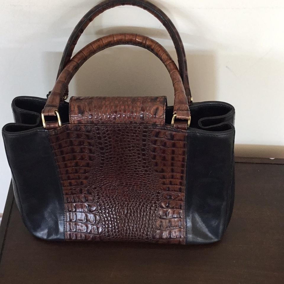 Brown Leather Black and Brahmin Satchel Tote q6Fnf1tAx