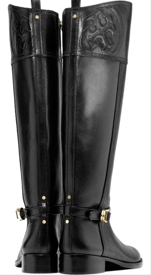ceebeb7e96f Tory Burch Black Marlene Riding Boots Booties Size US 7 Regular (M ...