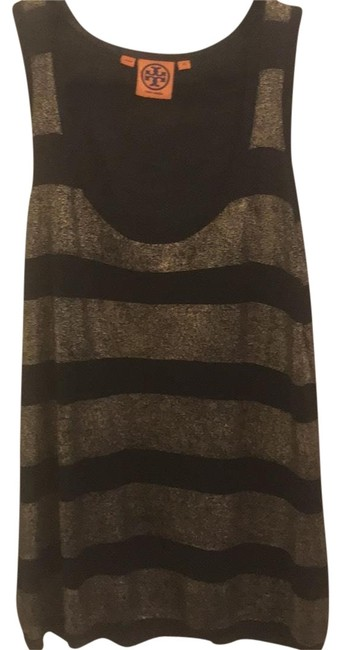 Item - Black and Gold Linen Blend Striped Tank Top/Cami Size 2 (XS)
