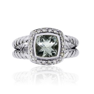 David Yurman David Yurman Sterling Silver Diamond and Prasiolite Albion Ring