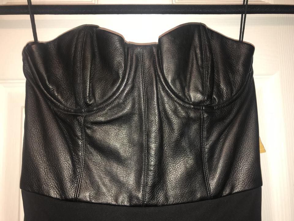 67b07a96bb2 Alice + Olivia Black Roxanne Strapless Leather Bustier Short Night ...