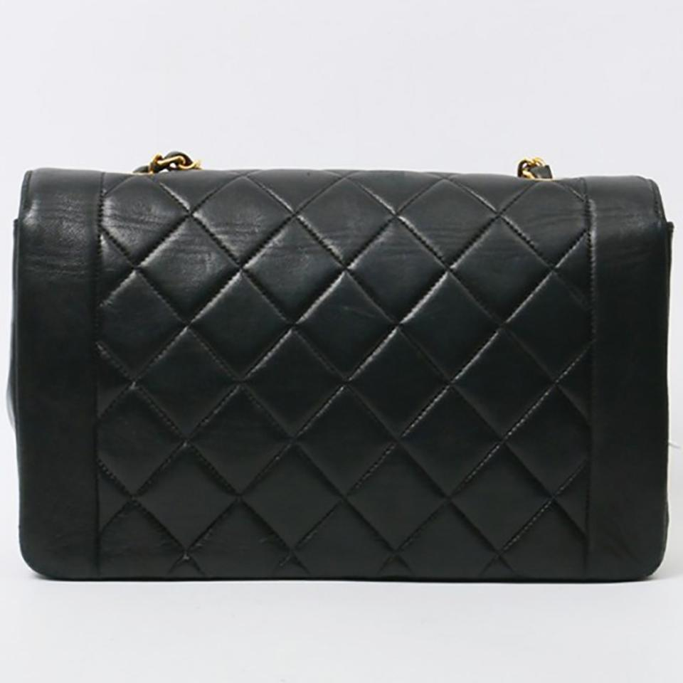 1750fddec3be Chanel Classic Flap Diana Vintage Quilted Black Lambskin Leather Shoulder  Bag - Tradesy
