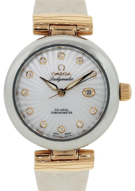 Omega White Pink De Ville Ladymatic Diamond Dial Watch Omega White Pink De Ville Ladymatic Diamond Dial Watch Image 1