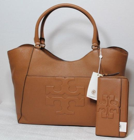 Tory Burch Summer Large Logo Tote in Tan Brown Bark NWT