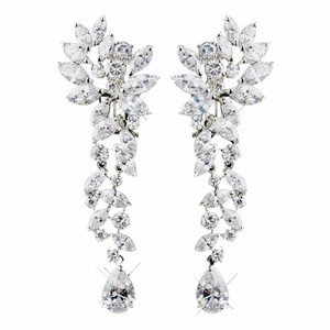 Elegance by Carbonneau Silver Cubic Zirconia Clip On Clear Tear Drop Marquise Cz Earrings