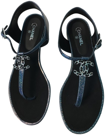 Preload https://img-static.tradesy.com/item/23848263/chanel-blue-classic-fantasy-leather-iridescent-sparkle-cc-logo-thong-sandals-size-eu-395-approx-us-9-0-1-540-540.jpg