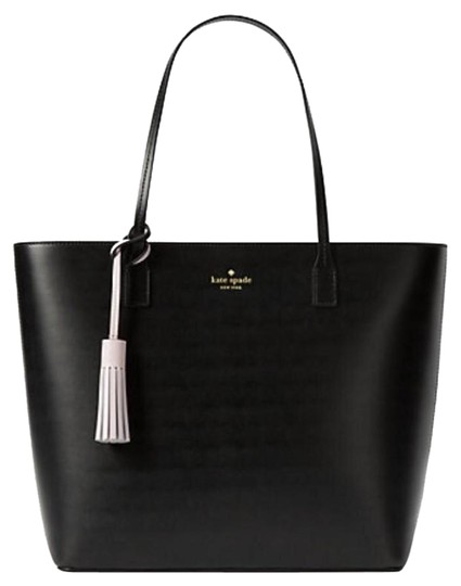 Kate Spade Leather Large Leather Tassel Smooth Leather Work Tote in Black