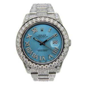 Rolex Rolex Datejust II Stainless Steel with Diamonds & Ice Blue Dial 41mm