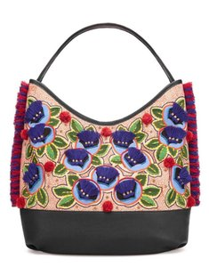 Tory Burch Summer Pom Pom Embroidered New With Tags Tote in Multicolor navy