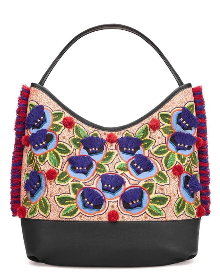 Pom Multicolor Pom Burch Navy Leather Tote New Tory Shoulder Purse Canvas Embroidered and Fwqpt0wnxI