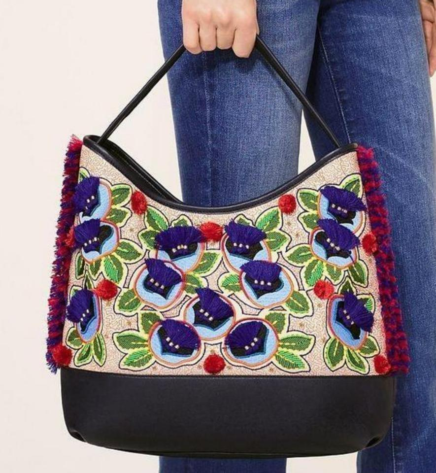 24903b84df3 Tory Burch Pom Pom Embroidered New With Tags Tote in Multicolor navy Image  11. 123456789101112