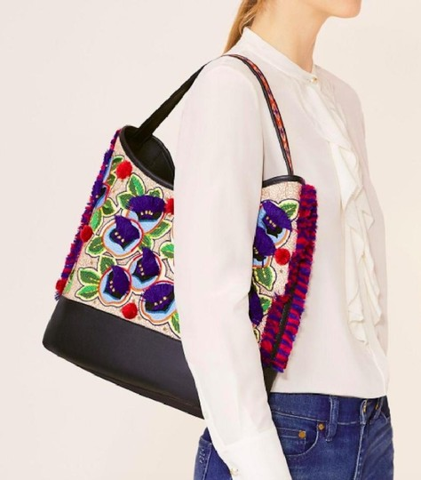 Tory Burch Pom Pom Embroidered New With Tags Tote in Multicolor navy