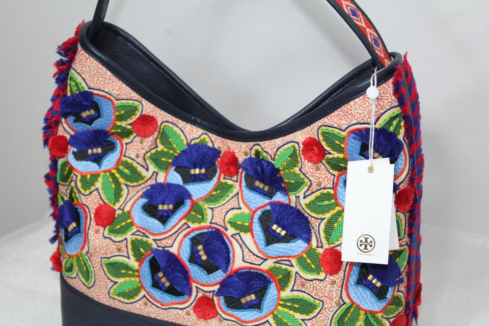 Tory Embroidered Leather Canvas Pom and Pom Tote Burch Purse Multicolor Shoulder New Navy axBwar6