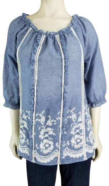 Preload https://img-static.tradesy.com/item/23848350/ali-miles-blue-floral-embroidered-lace-columns-peasant-tunic-size-10-m-0-1-650-650.jpg