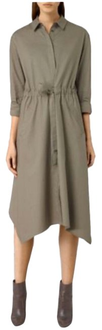 Item - Green Riva Trench Midi In Natural Mid-length Casual Maxi Dress Size 6 (S)