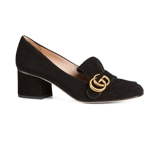 Preload https://img-static.tradesy.com/item/23848384/gucci-black-and-gold-marmont-fringe-suede-55mm-loafer-double-g-pumps-size-us-6-regular-m-b-0-0-540-540.jpg