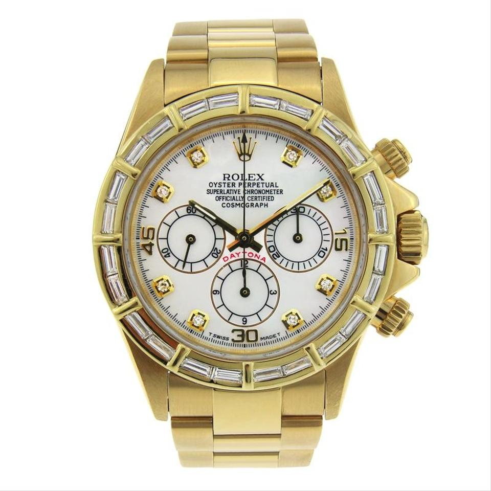 Rolex Yellow Gold And White Daytona 18k With Baguette Diamond Bezel 40mm Watch