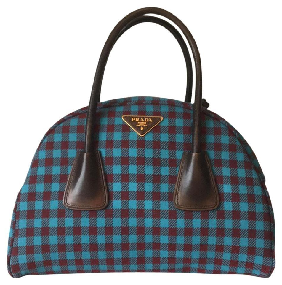 Prada Vichy Checkered Plaid Runway Bowler Satchel in blue red Image 0 ... 862635d47686a