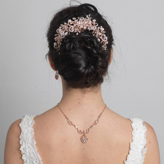 Elegance by Carbonneau Rose Gold Rhinestone Floral Vine Bun Wrap Hair Accessory
