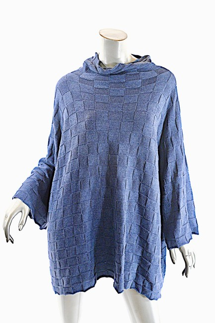 Eskandar Indigo Checker Weave Mock Neck Sweater