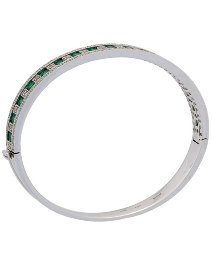 DAMIANI Damiani Damianissima 18k gold pave diamond & emerald bracelet bangle