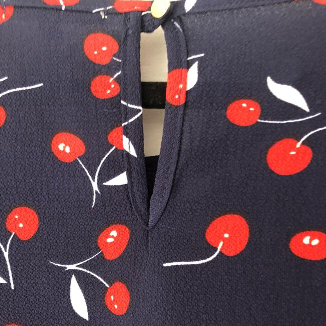 Le Lis Whimsical Playful Cherry Keyhole Top Navy, Red And White