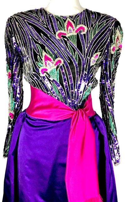Preload https://item1.tradesy.com/images/bob-mackie-purple-pink-green-and-silver-beaded-ball-gown-long-formal-dress-size-10-m-23848545-0-2.jpg?width=400&height=650
