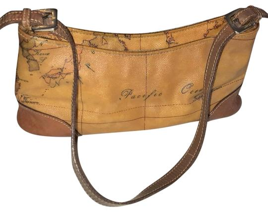 Preload https://item2.tradesy.com/images/alviero-martini-geographic-printed-baguette-tan-vinyl-and-leather-wristlet-23848601-0-1.jpg?width=440&height=440