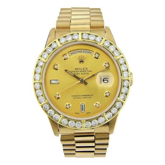 Preload https://item4.tradesy.com/images/rolex-yellow-gold-day-date-18k-with-aftermarket-diamond-bezel-36mm-watch-23848643-0-0.jpg?width=440&height=440