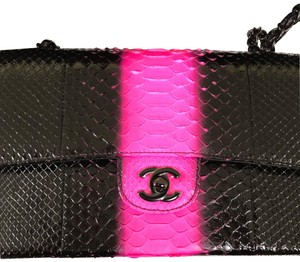 7964e76d28dd Chanel Shoulder Bag · Chanel. Classic Flap Medium Black and Pink. Python  Skin Leather Shoulder Bag