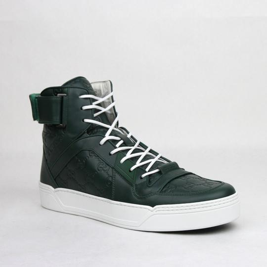 Gucci Dark Green Guccissima Leather Hi Top Sneakers 9g/Us 9.5 431141 3020 Shoes