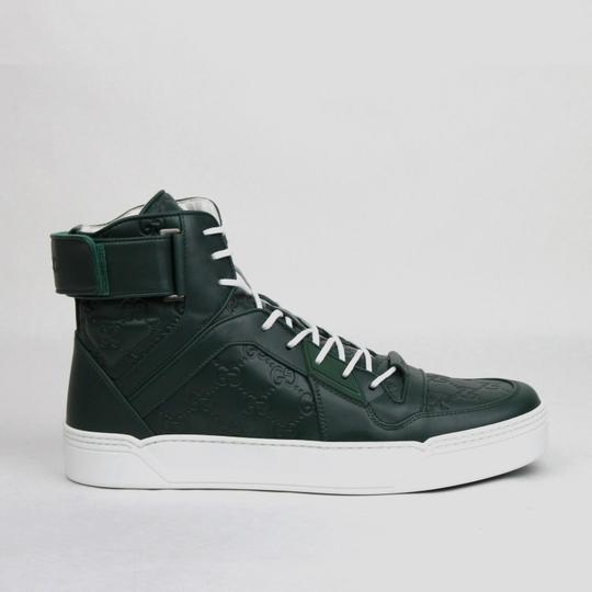 Gucci Dark Green Guccissima Leather Hi Top Sneakers 9.5g/Us 10 431141 3020 Shoes