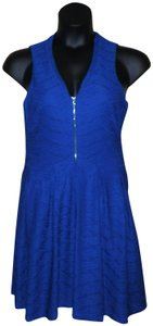Guess short dress Blue Sleeveless Zipper Pleated Lined on Tradesy