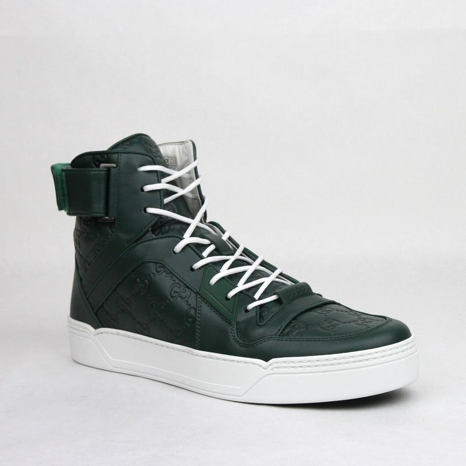 d6cd0cb05be Gucci Dark Green Guccissima Leather Hi Top Sneakers 10g Us 10.5 431141 3020  Shoes