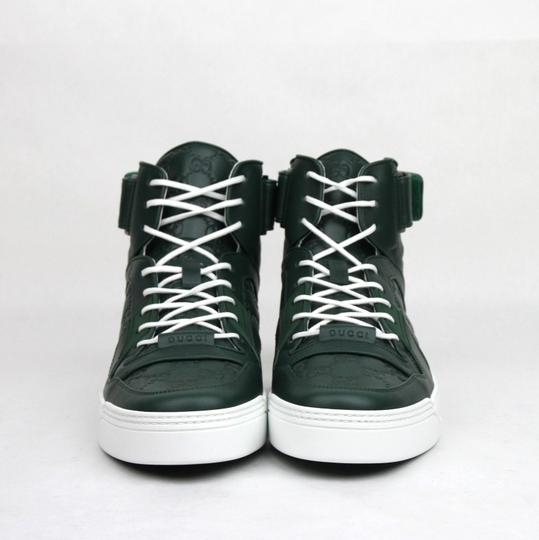Gucci Dark Green Guccissima Leather Hi Top Sneakers 10g/Us 10.5 431141 3020 Shoes