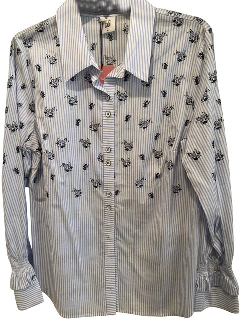 Preload https://item2.tradesy.com/images/cabi-stripedfloral-print-whitney-shirt-button-down-top-size-8-m-23848751-0-1.jpg?width=400&height=650