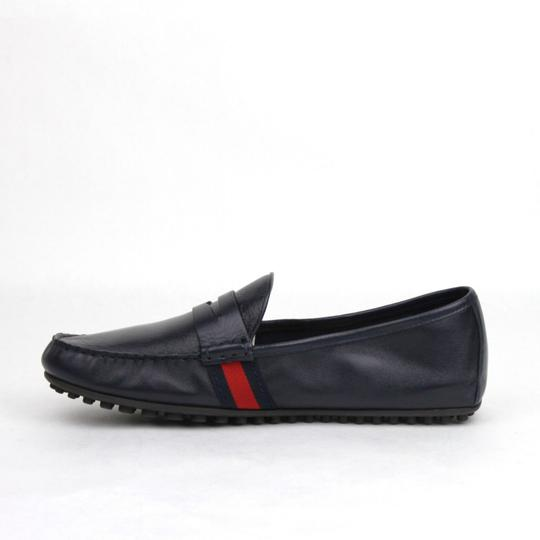 Gucci Navy Blue Guccissima Leather Loafer Driver 9g/Us 9.5 407411 4060 Shoes