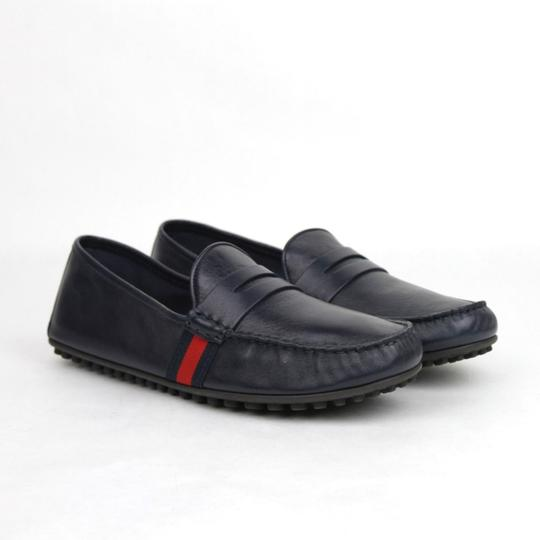 Gucci Navy Blue Guccissima Leather Loafer Driver 12g/Us 12.5 407411 4060 Shoes