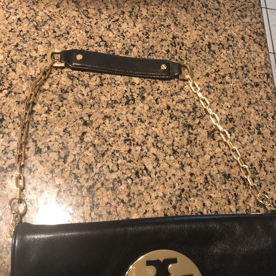 Monogram And Tory Clutch Black Gold Burch Leather tpqwqF