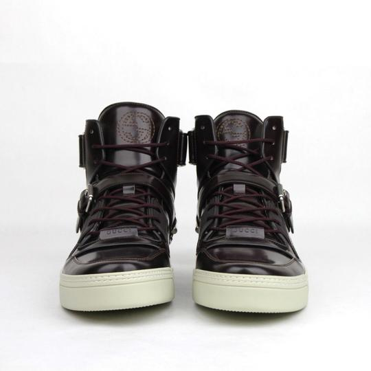 Gucci Dark Burgundy Horsebit Leather Hi Top Sneaker Strap 13.5g/Us 14.5 407373 6040 Shoes