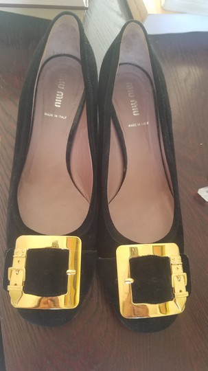 Miu Miu black suede with gold Flats