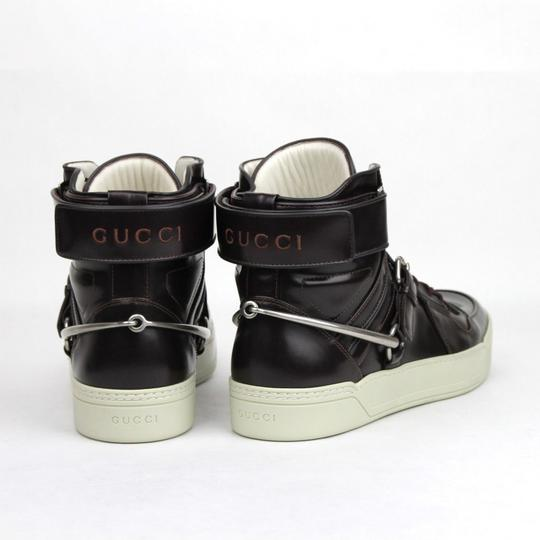 Gucci Dark Burgundy Horsebit Leather Hi Top Sneaker Strap 13g/Us 14 407373 6040 Shoes