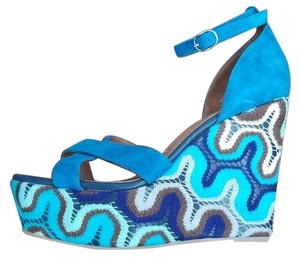 Jeffrey Campbell Ibiza Crochet blue Wedges