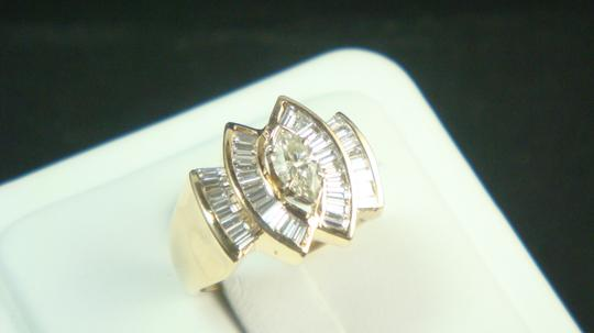 Other 14K yellow gold cocktail ring with Marquis & Baquette shape diamonds