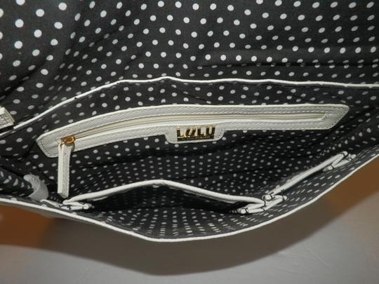 Lulu Guinness Polyurethane Front Flap White Clutch