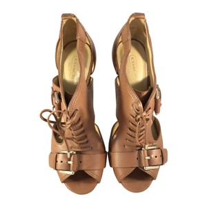 Coach Sofia Lace Up Leather Brown Sandals