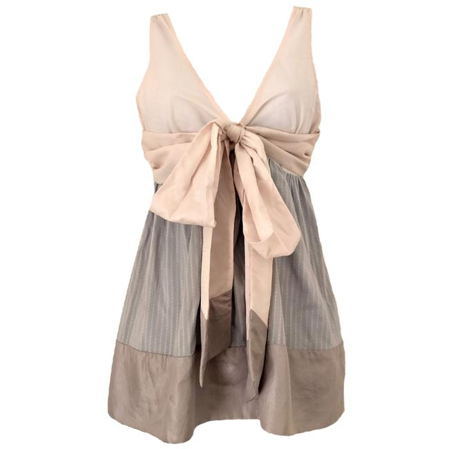 DKNY Bow Textured Sleeveless V Neck Donna Karan Top gray