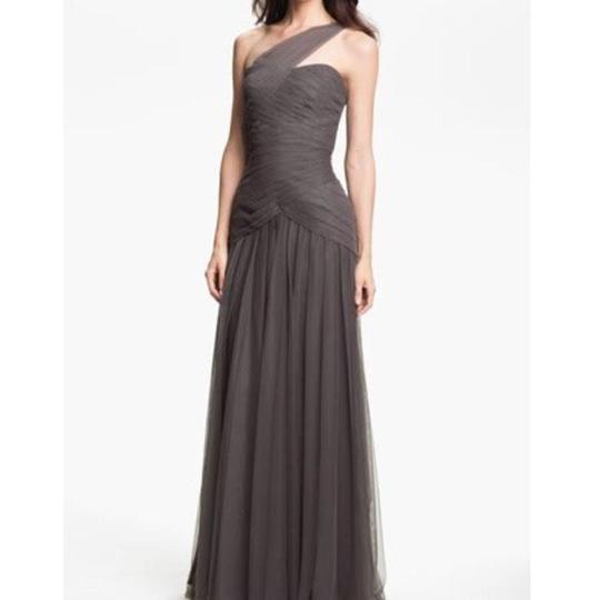 Monique Lhuillier Slate Tulle 450088 Feminine Bridesmaid/Mob Dress Size 10 (M)